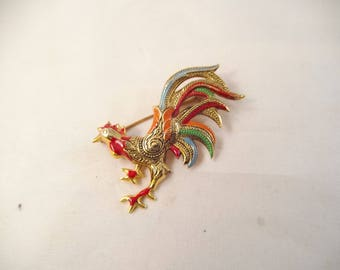 Colorful Damascene Rooster Pin, Signed Spain