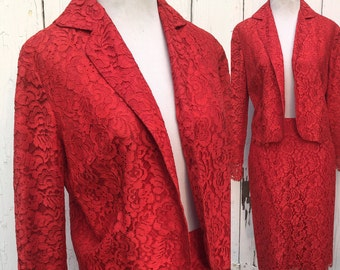 1960s Blood Red Vintage Lace Suit