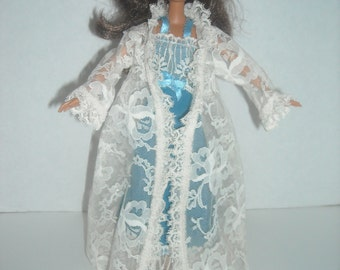Barbie Blue Lacy Nightgown with Robe