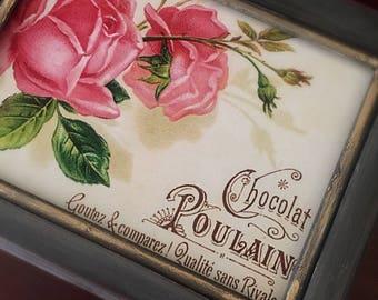 Vintage Jewelry Box, upcycled Jewelry Box, painted Jewelry Box Shabby Chic Box, farmhouse Jewelry  box, cottage Rose box
