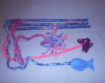 CAT TOYS on a Pink, Purple, Blue Varigated Printed Pole to play with your Kitty