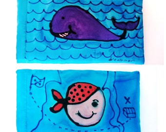personalized glasses or phone case handpainted silk. Gift for her.silk handpainted soft pouch.
