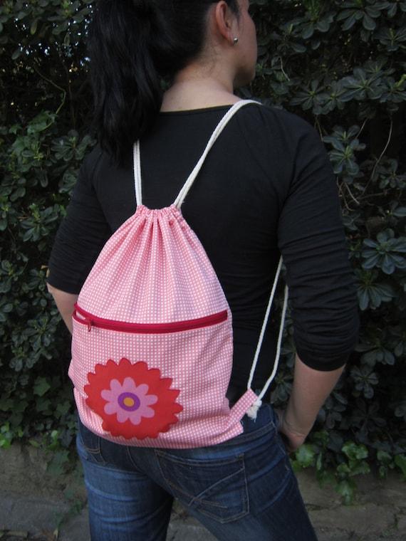 Floral cinch sack  backpack bag cotton student bag