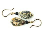 Stone dangle earrings - black onyx & leopardskin jasper teardrops