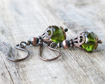 Green dangle earrings - olive faceted picasso Czech glass beads & copper