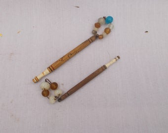 vintage Lace making bobbins with glass beads