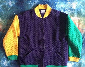 Vintage IZOD Petites Multi-Colored Button Up Thick Sweater/Coat