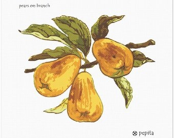 Needlepoint Kit or Canvas: Pears On Branch