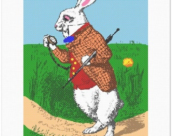 Needlepoint Kit or Canvas: Alice In Wonderland Rabbit
