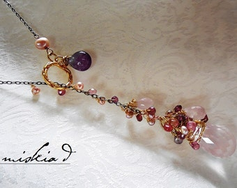 Rose Quartz Pendant Necklace, Lariat Pendant Necklace, Pink Gemstone Necklace, Ruthenium Plated Sterling Silver Necklace