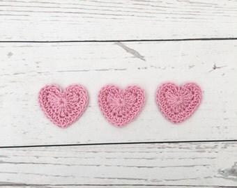 crochet heart | pink heart appliqués | valentines hearts | wedding decoration