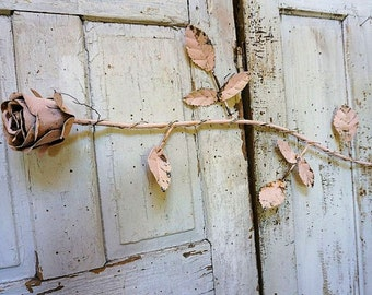 Pink long stem rose rusty metal large shabby cottage chic handmade huge cabbage rose sculpture wall hanging home decor anita spero design