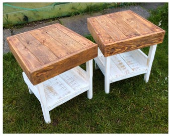 Rustic Reclaimed Wood Side End Tables Country Shabby Chic