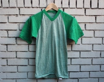Vintage RUSSELL ATHLETIC Blank Shirt Size Youth S Small Tri-Blend 1980's Rayon Retro Thin Soft Vtg Green Outdoor