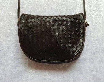 BLACK LEATHER BAG Cross body bag Real Leather Bags 80s bags Vintage Black Bags Thin Strap Cheap Bags