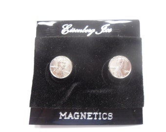 2 Pairs of Silverplated Magnetic Penny Earrings