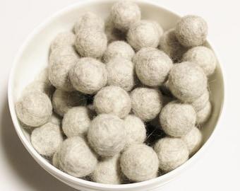 Light Gray Nepalese Felt Pom Poms, Garland Wool Balls, Felted Beads, Ethnic Jewelry Supplies