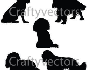 King Charles Spaniel Dog SVG Silhouettes