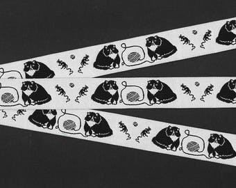 "ANIMALS/CATS Jacquard Ribbon Trim, Polyester, 7/8"" Wide, White Background with Black 'Fat Cat', Mice & Yarn Balls, Priced Per Yard"