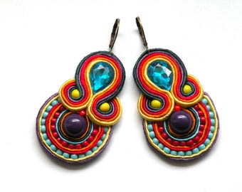 Earrings-Soutache Jewelry-Hand Embroidered Summer