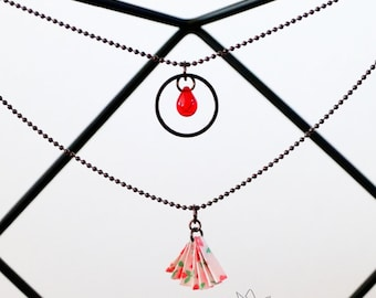 Origami jewelry - Chigiru, double origami necklace, handfolded paper fan and glass bead
