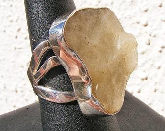 LIBYAN DESERT GLASS Ring, Libyan Gold Tektite, Size 9, Sterling Silver