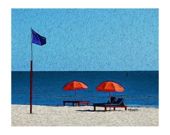 Nautical Print, Red Beach Umbrellas, Colorful Beach Art, Mississippi Gulf Coast, 8x10 Glicee Print - Red White and Blue Forever - Korpita
