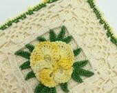 Corchet Hot Pad, Crochet Yellow Rose Hot Pad, Retro Kitchen Decor, Retro Table Linens, Vintage Table Linens