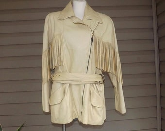 circa 1990 super soft leather western fringe jacket sz L