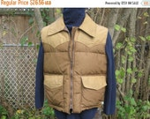 SALE Vintage 70's WOODS Arctic Down Puff Vest Made in Canada Tan Brown zipper front Size L Chest