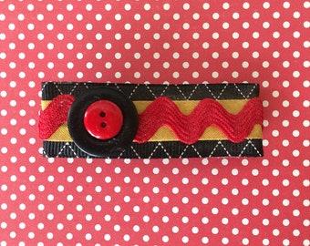 hair barrette, hair accessory, hair clip, hair bow - barrette with black ribbon, yellow, red ric rac, barrette, black button, red button