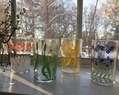 Set of 4 Vintage Floral Juice Glasses Small Juice Glasses Farmhouse Collection