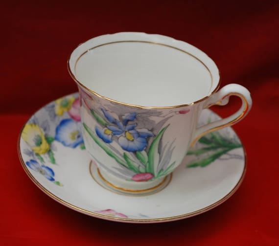 Rosina Floral Tea cup Saucer - Made in England - Bone China - red blue flower - Shabby chic tea party