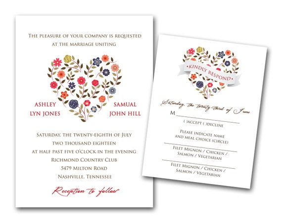 Elegant Inexpensive Wedding Invitations: Color Heart Wedding Invitations Set Printed