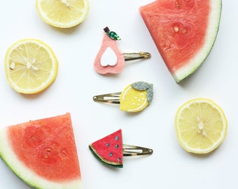 Felt Fruit Hairclips - Pear Hairclip - Lemon Hairclip - Watermelon Hairclip - Summer Hairclip - Headband