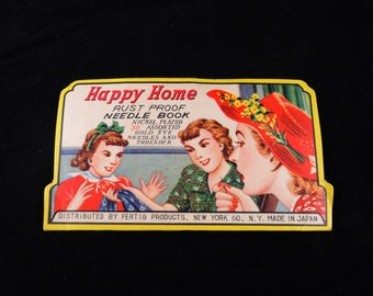 Vintage Happy Home Needle Book, Vintage Sewing, Rust Proof Needle Book, Made in Japan