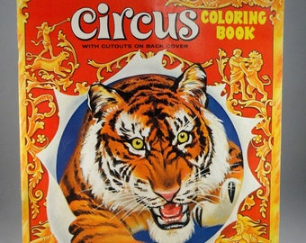 Circus Coloring Book with Cutouts by Saalfield, Vintage Circus Coloring Book, #2520