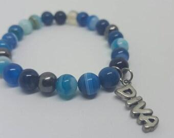 Blue DIVA Beaded Bracelet