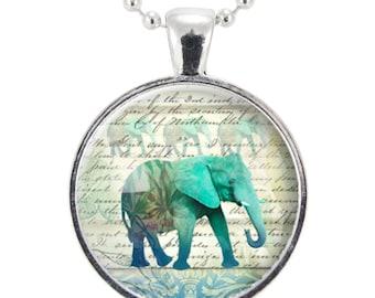 Blue Elephant Necklace, Art Jewelry Pendant (1066S25MMBC)