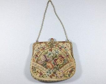 Vintage tapestry purse evening bag with purse, Needlepoint Petit Point handbag