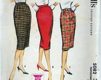 Vintage 1959 McCall's 5082 Proportioned Pencil Skirt Sewing Pattern Size Waist 25""