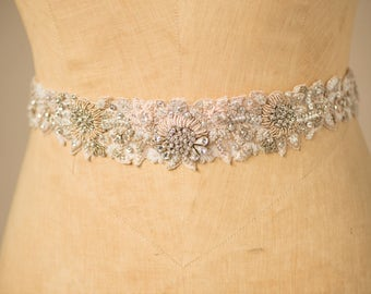 Wedding Belt Bridal Sash, Hand Beaded Silver & Blush Crystal Embellished Asymmetrical Dainty Floral Vintage Design, Camilla Christine ESME