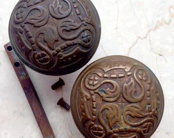 Antique Brass Door Knobs, Beautifully Ornate Flower Door Knob Set, 2 Knobs, Acanthus Leaf Door Knob Set for One Door