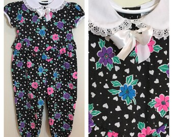 80s Babyfair Black Heart Floral Peter Pan Collar Romper Jumpsuit, Girls Size 12 to 18 Months