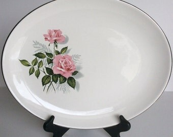 Pink Rose China Platter oval serving plate American Rose