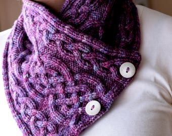 Cable and Buttoned Knit Cowl Pattern - TREDEGAR SCARFLETTE Knitting Pattern PDF - Digital Download