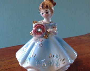 """Vintage Josef Originals Figurine, April Birthstone Girl with """"Diamond"""" Rhinestone in Pink Flower Boquet"""