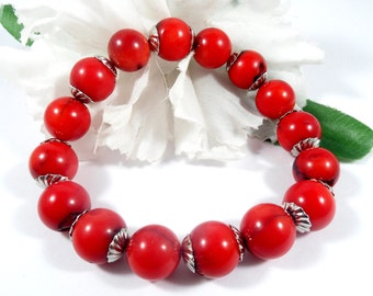 Red Coral Bracelet with Silver Accents, Bamboo Coral Bohemian Bracelet, Trending Womens Jewelry Stacking Bracelet Mothers Day Gifts Under 20