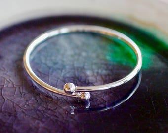 Sterling Silver Bangle - Charm Bracelet - Twist Open Bangle -  Add A Charm Bracelet - Silver Bracelet - Bangle Bracelet - Bangle