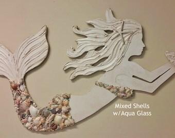 Mermaid Art Handmade Wood and Shell Mermaid, Coastal Beach House Decor, Made to Order